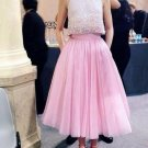 Pink A Line Homecoming Dresses 2017 High Collar Evening Dress Tea Length Tulle