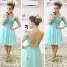 Mint Lace Backless Homecoming Dress, Chiffon Homecoing Dress