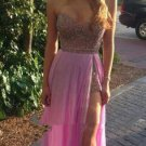 Pink Sweetheart Crystal Homecoing Dress, Long Sexy Homecoing Dress
