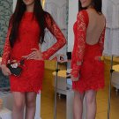 Scoop Neck New Style Long Sleeves Red Lace Tulle ShortMini Homecoming  Dress