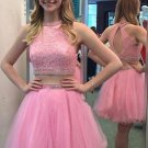 Scoop Neck Tulle A-line ShortMini with Lace Two Piece Pretty Homecoming Dresses