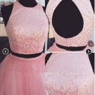 Scoop Neck Satin Tulle Princess ShortMini Pearl Detailing Two Piece Homecoming Dresses