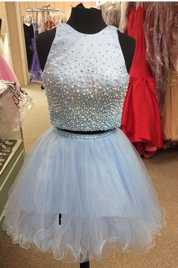 Satin Tulle ShortMini Pearl Detailing Two Piece Princess Scoop Neck Homecoming Dresses