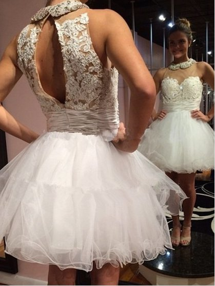 Pink Organza Tulle Sashes Scoop Neck Ribbons and Beading A-line Homecoming  Dress