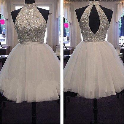 Tulle ShortMini Sashes A-line High Neck Ribbons Homecoming  Dresses