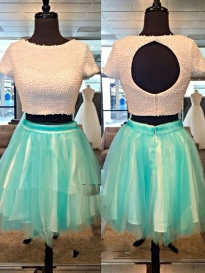 Elastic Women Satin ShortMini Tulle Two Piece Short Sleeves Homecoming Dress