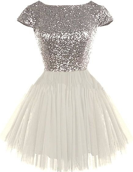 Sequins Short Sleeve Homecoming Dress, Tulle Homecoming Dress