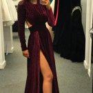 Long Sleeve Burgundy Slit Velvet Prom Dresses Open Back Evening Dresses