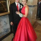 A Line Red Halter Satin Simple Prom Dresses Evening Dresses