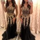 Strapless Sweetheart Gold Applique Prom Dresses Tulle Skirt Evening Gown