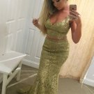 Two Piece Gold Lace Prom Dresses Tank Straps Evening Dresses