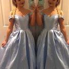 Off Shoulder Blue Long Prom Dresses Lace Up Back