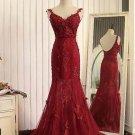 Red organza lace applique v-neck open back long prom dresses, mermaid dresses