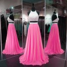 Sexy Open Back Prom Dress,Two Piece Graduation Dress,Beaded Party Dress,Two Piece Prom Gown