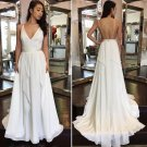 Sexy V Neck White Chiffon Long Prom Dress, Backless Prom Dress