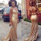 Gold Sequin V-neck Long Halter Sexy Prom Dress