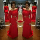 Hot Red Long Sleeves Prom Dress, Two Pieces Sequins Prom Dresses