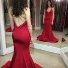 Red V Neckline Prom Dresses Backless Evening Dresses