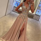 Tank Straps Slit Applique Prom Gown Dresses