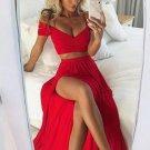 Hot Red Off Shoulder Prom Dress with Side Slit
