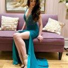 Elegant V neck Beading Prom Dress with Side Slit