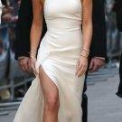 Simple Halter Jersey Slit Prom Dresses