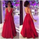 Simple Deep V Neck Backless Red Evening Dresses Prom Dresses