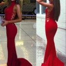 Fabulous Mermaid High Neck Red Prom Dress Evening Gown Dresses