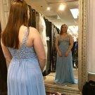 Simple Blue Tank Straps Prom Dresses Sweetheart Evening Dress