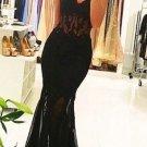 Mermaid Strapless Black Prom Dresses Appliques Formal Dresses