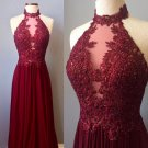 Halter Burgundy Lace Applique Prom Dress with Beadings