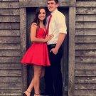Strapless Red Taffeta Short Prom Dress Cute Homecoming Dress