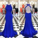 Simple Halter Fitted Prom Dress, Open Back Pageant Dress