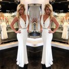 Jersey White Sexy Prom Dress Mirrored Bands V neck Plunge Pageant Dress