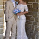 Two Piece Pageant Dress, 3/4 Length Sleeves Lace Prom Dress