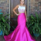 Spaghetti Strap Mermaid Pageant Dress, Two Piece Floral Appliques Prom Dress