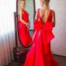 Plunging Sheer V Neckline Prom Dress Cut out Back Ruffle back Mermaid Pageant Dress