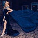 Long Velvet Prom Dress, Slit Velvet Pageant Dress