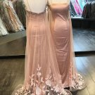 Simple Charming Pink Prom Dress with Tulle Train