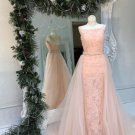 Blush Pink Lace Beading Prom Dress with Tulle Train