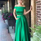 Green Off Shoulder Two Piece Prom Dresses
