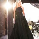 Halter Black Beaded Prom Dress with Pockets