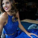 Charming Royal Blue Two Piece Prom Dress with Lace Beaded