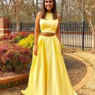 Yellow Two Piece Simple Prom Dress