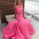Simple Pink Two Piece Prom Dresses