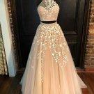 Two Piece Applique Prom Dresses Tulle Lace Evening Dresses