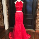 Red Two Pieces Mermaid Prom Dresses 2018 Simple Evening Dresses
