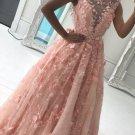 A Line 3D Flowers Prom Dresses 2018 V Neckline Evening Dress Sale