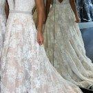 Elegant Lace Prom Dresses 2018 Beaded V Neckline Evening Dresses