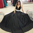 A Line Tank Straps Black Prom Dresses Deep V Neckline Evening Dresses